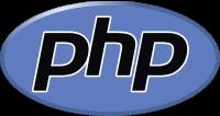 Das Logo der Programmiersprache PHP auf weissen Grund